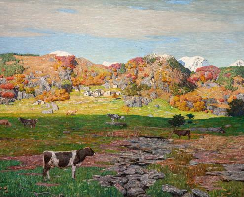 Pascolo o Ultimi pascoli o Paesaggio di alta montagna con mucche - Fornara