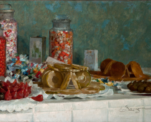 Natura morta con frutta candita e caramelle, studio dal vero - Longoni