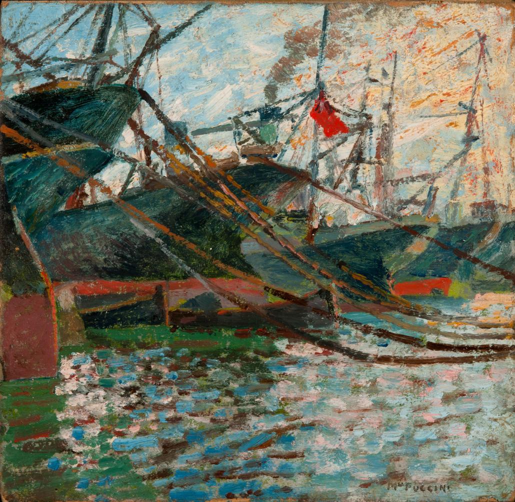 Barche in porto con riflessi sul mare - Puccini